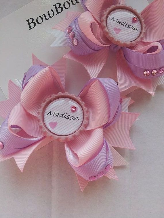 Personalised Crystal Embelished Bow Hair Clip. Baby by BowBowz