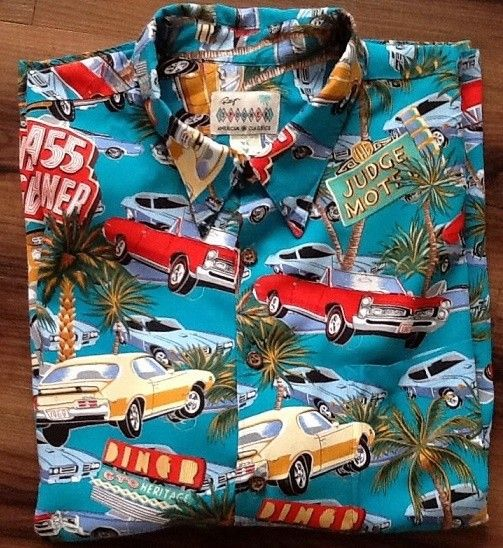 """Vintage Hawaiian shirt - """"Wear this vintage Hawaiian shirt and you'll think your ready to go cruising in one of the barely street legal cars of the early Sixties. ..."""""""