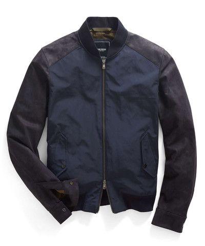 Todd Snyder Leather & Nylon Bomber Jacket