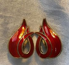 VINTAGE A SCH ALBERT SCHARNING RED GUILLOUCHE ENAMELED STERLING EARRINGS NORWAY