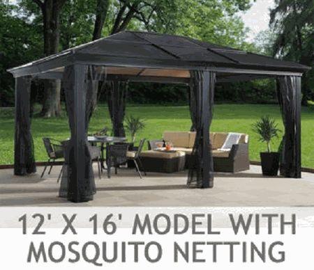 Sojag Hardtop Gazebo Sedona 12 x 16 with Mosquito Netting