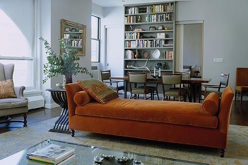 Perfect NYC Apartment Living set up --- And that fainting (ish) day bed is fantastic // Velvet daybed + painted bookshelves in open-plan living/dining room by xJavierx, via Flickr