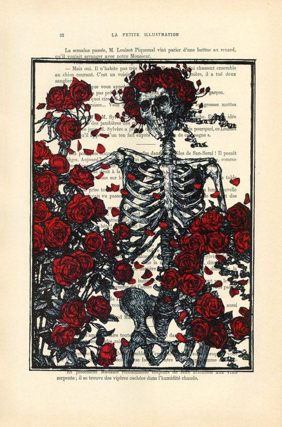 esqueleto con rosas imprimir muerte de cráneo rojo rosas arte