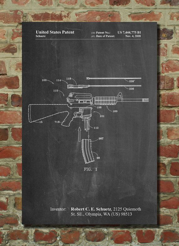 AR 15 Patent Print AR 15 Gun Gun Art Military Art by PatentPrints