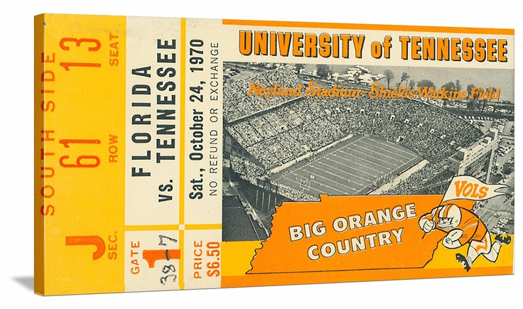 Great vintage Tennessee football ticket art on canvas. See more Tennessee football tickets at http://www.shop.47straightposters.com/