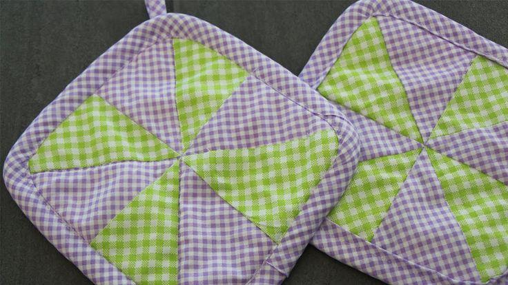 Topflappen aus Stoffresten nähen mit sehr leichte Quilt-Technik für Anfä...