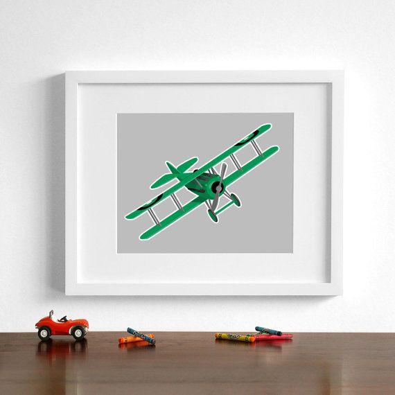 Art avion Vintage - biplan Spad VIII - Choisissez votre art de pépinière couleurs - transport art garçons salle sticker - avion
