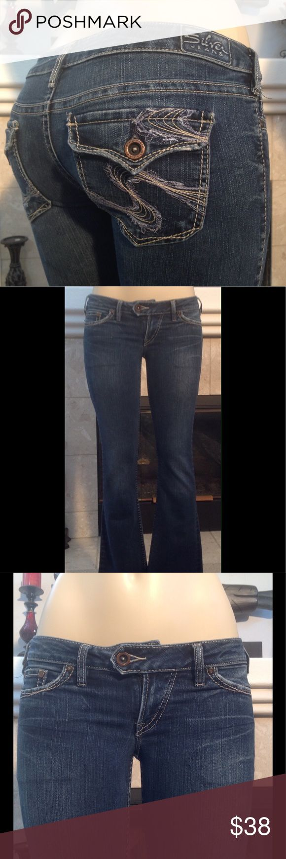"""SILVER WOMEN'S JEANS """"TUESDAY FLAP"""" SZ 28  (430) EMBELLISHED POCKETS BOOT CUT SIZE 28 INSEAM 30"""" RISE 7"""" WAIST 15.5"""" THESE JEANS ARE IN GREAT USED CONDITION COMES FROM A SMOKE FREE HOME (430) Silver Jeans Jeans Boot Cut"""