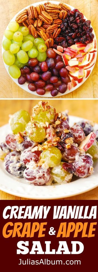 Creamy Vanilla Grape & Apple Salad with Cranberries and Pecans. Gluten free fruit salad with cream cheese and brown sugar dressing. Thanksgiving, Christmas, Holiday salad, side dish recipe. (easy cheese gluten free)