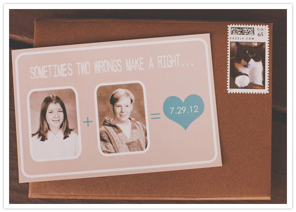 How can you not giggle at that save the date? Love a couple that can poke fun of their awkward teen photos.