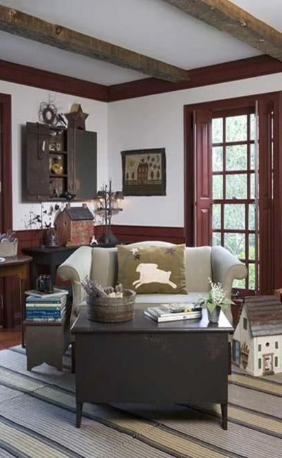 hate the decor but like the beams, white walls and brown door and brown trim