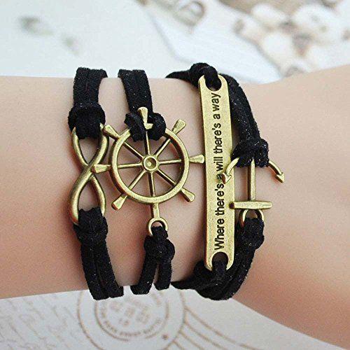 Wild Wind (TM) Captain's Wheel Figure 8 Anchor Fortitude Intention Multi-Strand Wrap Bracelet