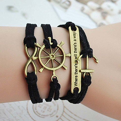Wild Wind (TM) Captain's Wheel Figure 8 Anchor Fortitude Intention Multi-Strand Wrap Bracelet