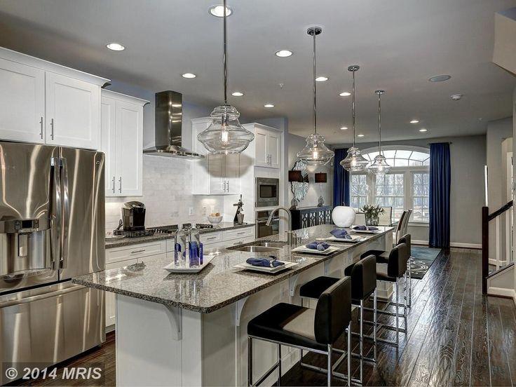 Transitional Kitchen with Limestone Tile, Kitchen island, Oregon Tile & Marble Opal White Marble Tile, One-wall, Stone Tile