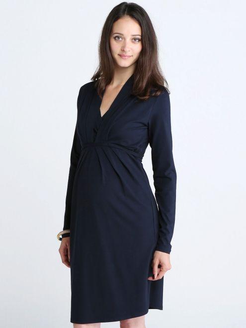 Robe de grossesse et d'allaitement col V en jersey de viscose bleu foncé QUEEN MUM - Photo