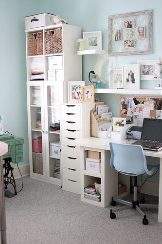 sewing room ideas - a gallery on Flickr.  Note: great pattern storage solution in the tall white file cabinet thing.