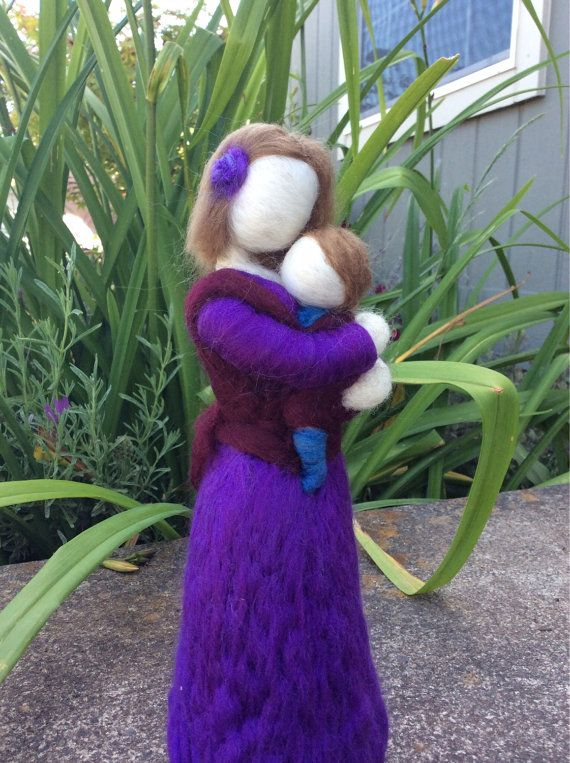 Needle Felted Babywearing Mother and Baby by radishwoolworks, $50.00