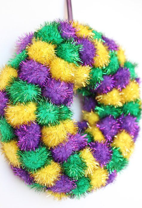 Mardi Gras Kids Crafts Part - 33: Mardi Gras Wreath Purple Green Yellow Gold By TheLandofCraft