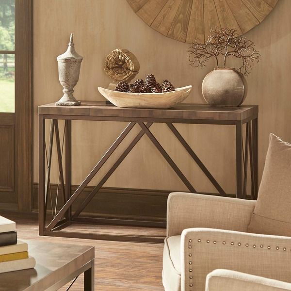 Canal Contemporary Bronze Metal Occasional Media Console Sofa Table