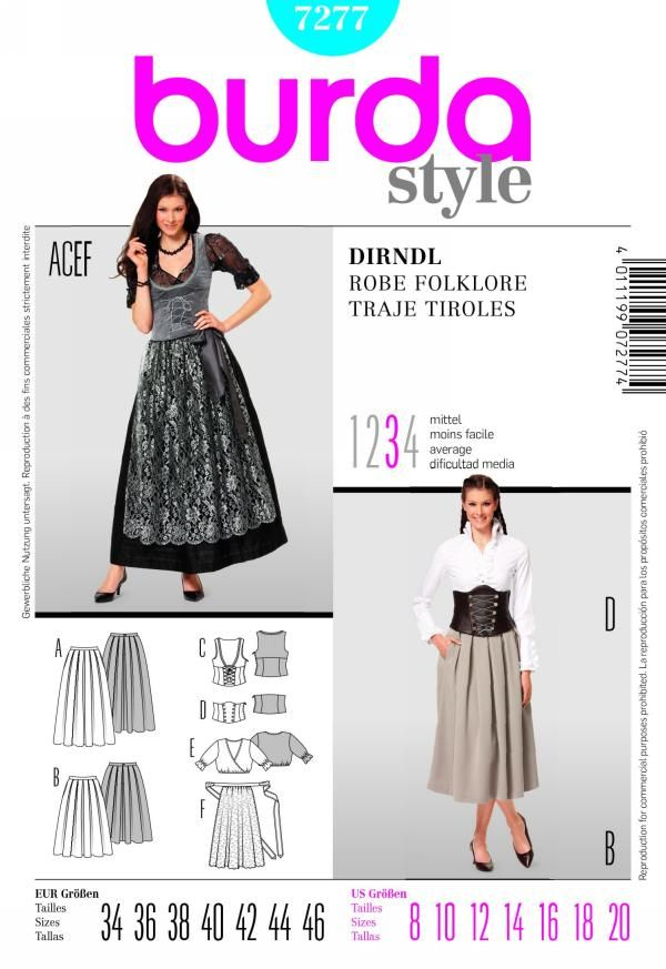 Burda 7277 from Burda patterns is a dirndl sewing pattern
