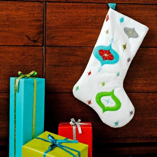 DIY Midcentury Retro Christmas Stocking >> http://www.diynetwork.com/how-to/make-and-decorate/crafts/how-to-make-a-midcentury-retro-christmas-stocking?soc=pinterest