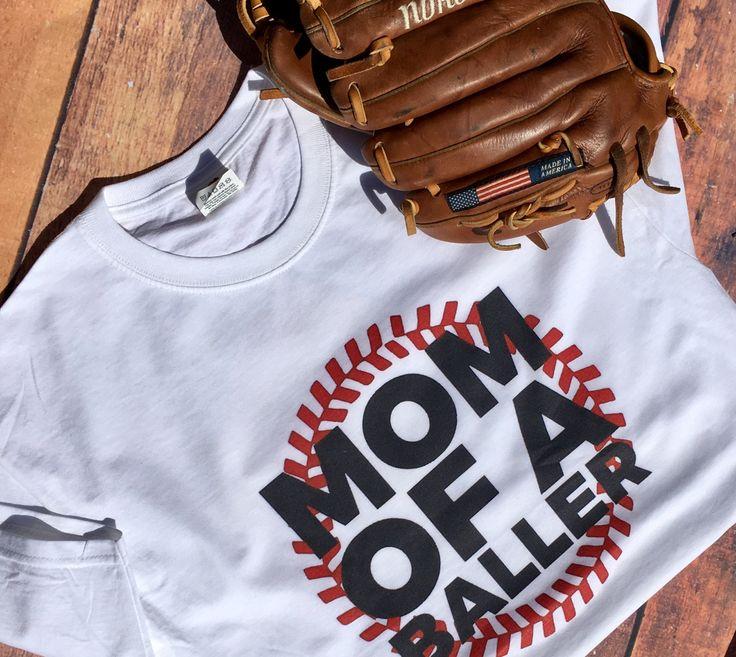 Mom of a Baller Tee; Women's t-shirt; Baseball Mom T Shirt; Baseball Gift; Baseball; Baller Mom; Baseball Shirt; Base ball mom by mommage on Etsy