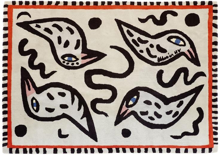 """Ulrica Hydman-Vallien, """"Birdie Blue"""" carpet from Kinnasand."""