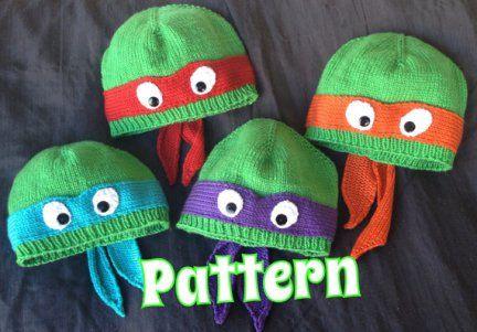 Knitting pattern for Mutant Ninja Turtle Hat and more super hero knitting patterns
