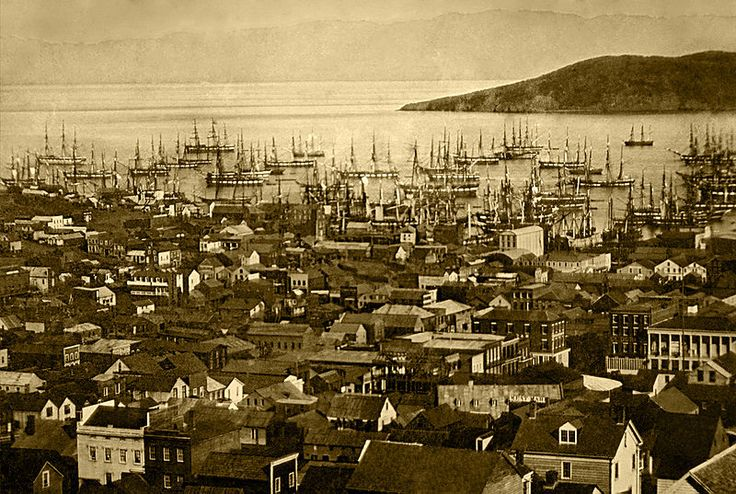 San Francisco harbor c.1850. Between 1847 and 1870, the population of San Francisco exploded from 500 to 150,000.