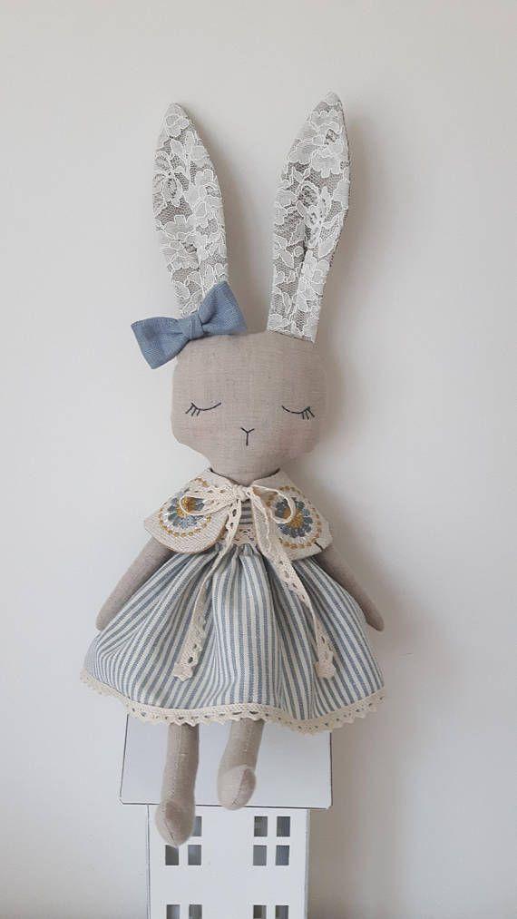 Bunny doll fabric doll cloth dollgift for girl heirloom