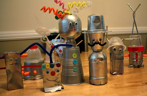 robot party decorations | We had so much fun making all sorts of robots and aliens.