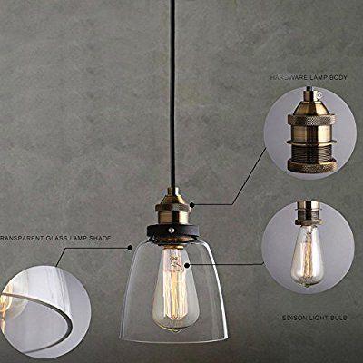 Vintage Glass Pendant Light Ceiling Lamp Shade Industrial Kitchen Pendant Lights Glass Shade Hanging Ceiling Light For Loft Bedroom Office Home Decorative Lighting