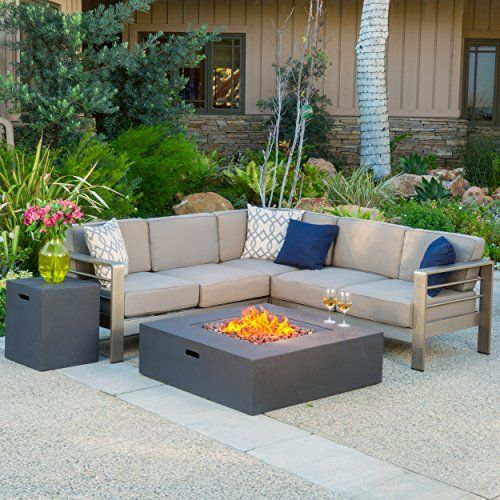 Crested Bay Outdoor Aluminum Framed Sectional Sofa Set With White