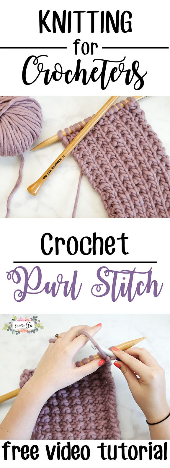 Knitting for crocheters - learn to knit the purl stitch with your crochet hook!   Free video tutorial from Sewrella