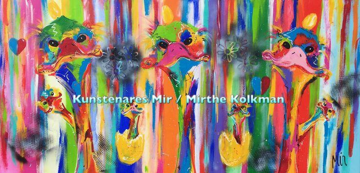Schilderij struisvogels  Afm 80x160cm 4cm www.kunstenaresmir.nl