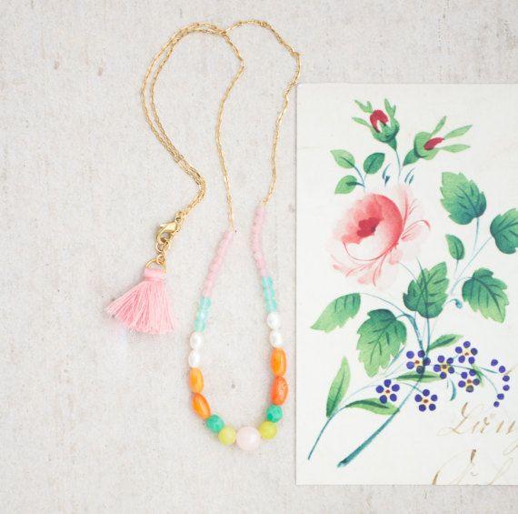 Korallen und Perlen Edelstein Halskette von NestPrettyThingsShop