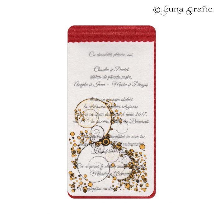"""Invitatii de nunta handmade """"Rococo auriu"""" Invitatie in 3 straturi de hartie. Pentru suport am folosit un carton sidefat, textul este printat pe un carton texturat,iar modelul de suprafata este realizat pe hartie de calc. Plicul este, de asemenea, in ton cu invitatia si fabricat din carton texturat. El este inclus in pret si se livreaza impreuna cu invitatia propriu-zisa. Pentru ca totul sa fie perfect alegem impreuna culoarea si tipul cartonului astfel incat sa aveti un set de invitatii…"""