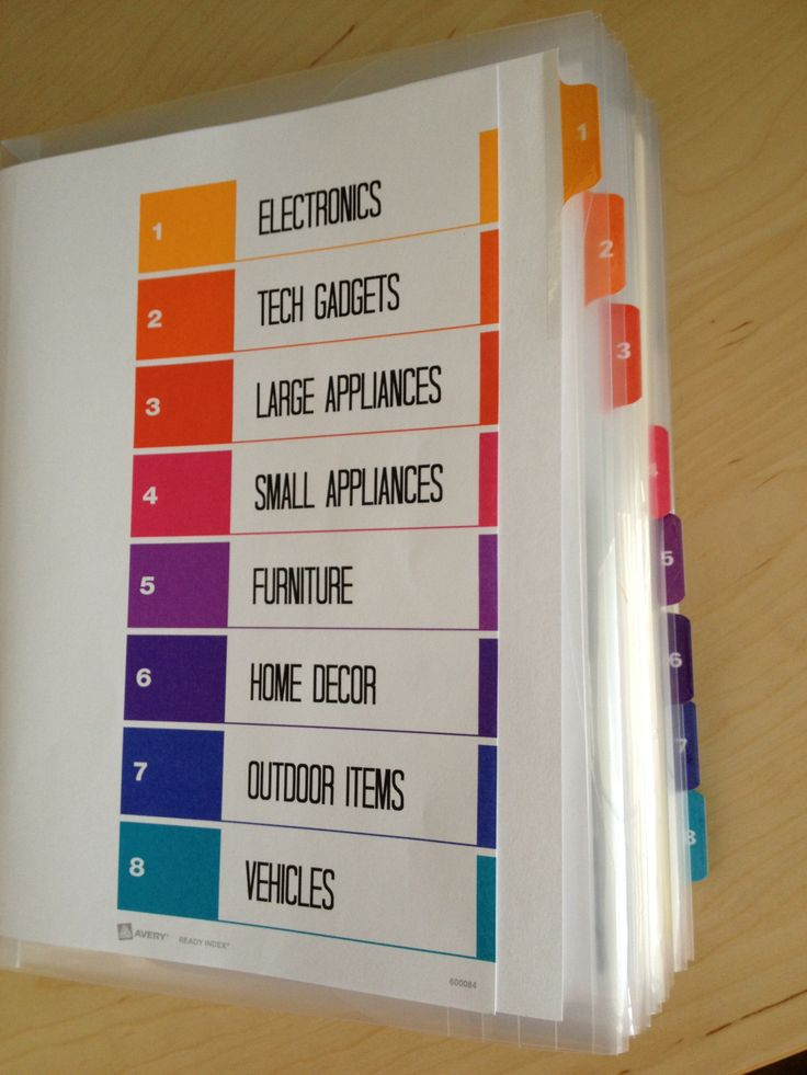 Storing manuals and receipts with purpose