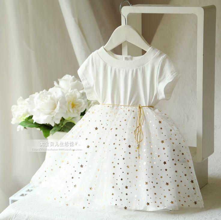 2015年春夏新款童裝女童 燙金小星星簡約白色紗紗裙短袖連衣裙-淘寶台灣,萬能的淘寶