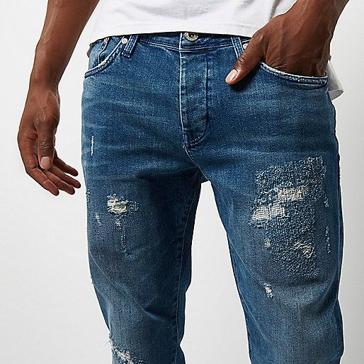 Mid blue wash Jimmy slim tapered jeans - tapered jeans - jeans - men