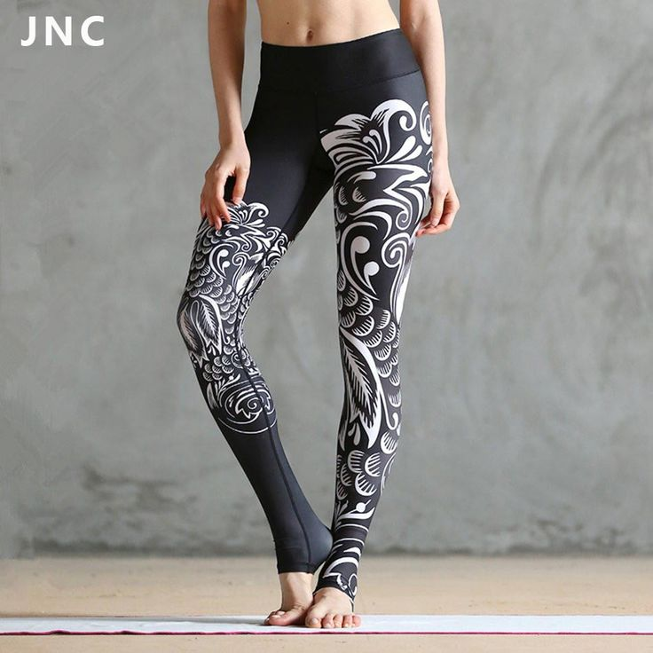 JNC Women Black Printed Ployster Yoga Leggings Goddess Tights Clouds Printed Yoga Tights Artists Shape Workout Bottoms
