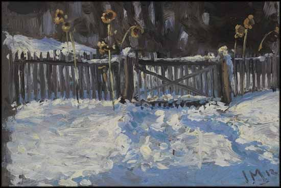 Winter Study - James Edward Hervey (J.E.H.) MacDonald ALC CGP G7 OSA RCA 1873 - 1932 Canadian oil on board 3 5/8 x 5 3/8 in 9.2 x 13.7 cm Estimate: $12,000 ~ $16,000 CAD