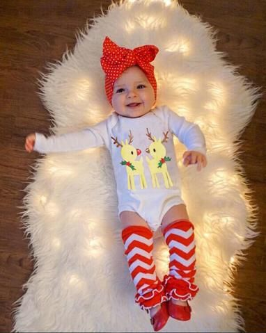 3bf3fa63fe6f9 Baby Girl Infant CHRISTMAS Outfit Bodysuit Ruffle Leg Warmers ...