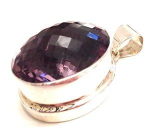 Reiki Jewels 925 Silver Chunky Amethyst Faceted Oval Pendant