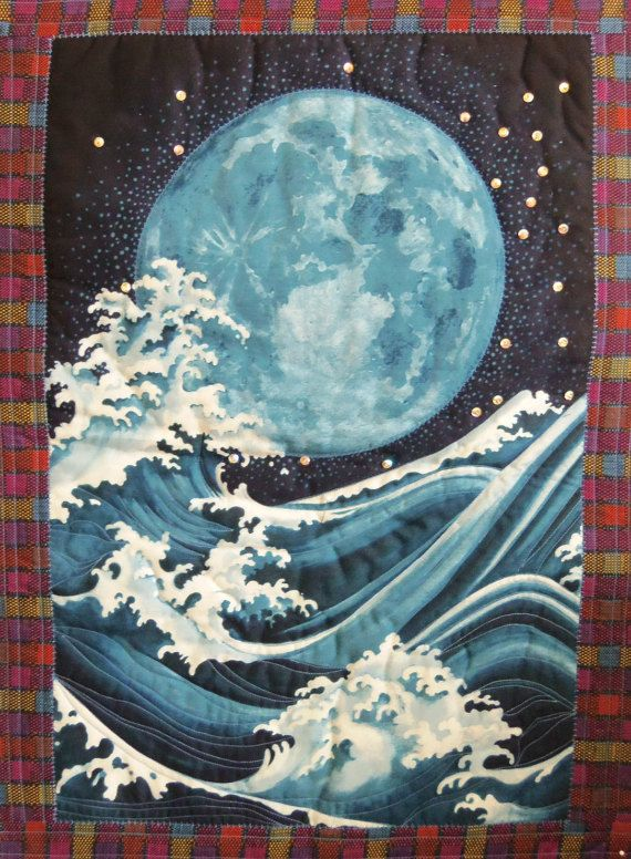 Wall Hanging  Wall Art  ORIENTAL MOON and the von SewNSewSister