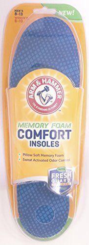 2 Pack Arm & Hammer Memory Foam Comfort Insole Men Size 8-13 Women Size 6-10 1Ea