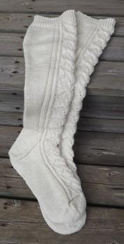 Naisten pitsi-/palmikkokuvioiset villasukat pitkällä varrella tilauksesta