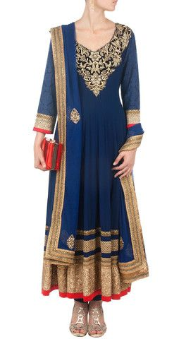 Blue color long anarkali suit online – Panache Haute Couture http://panachehautecouture.co.in/collections/suits/products/blue-color-long-anarkali-suit-online