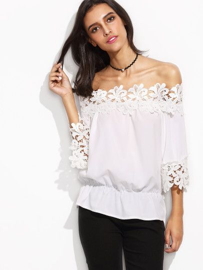 Shop White Off The Shoulder Crochet Trim Peplum Top online. SheIn offers White Off The Shoulder Crochet Trim Peplum Top & more to fit your fashionable needs.