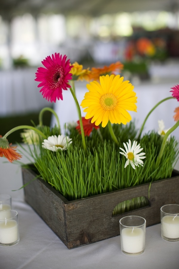 Easy and definitely colorful tabletop centerpiece idea for a wedding. #Gerberadaisy
